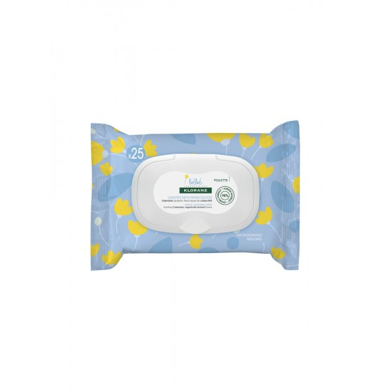 Klorane Bebe Wet Wipes for Face and Hand 25 Wipes - New Formula